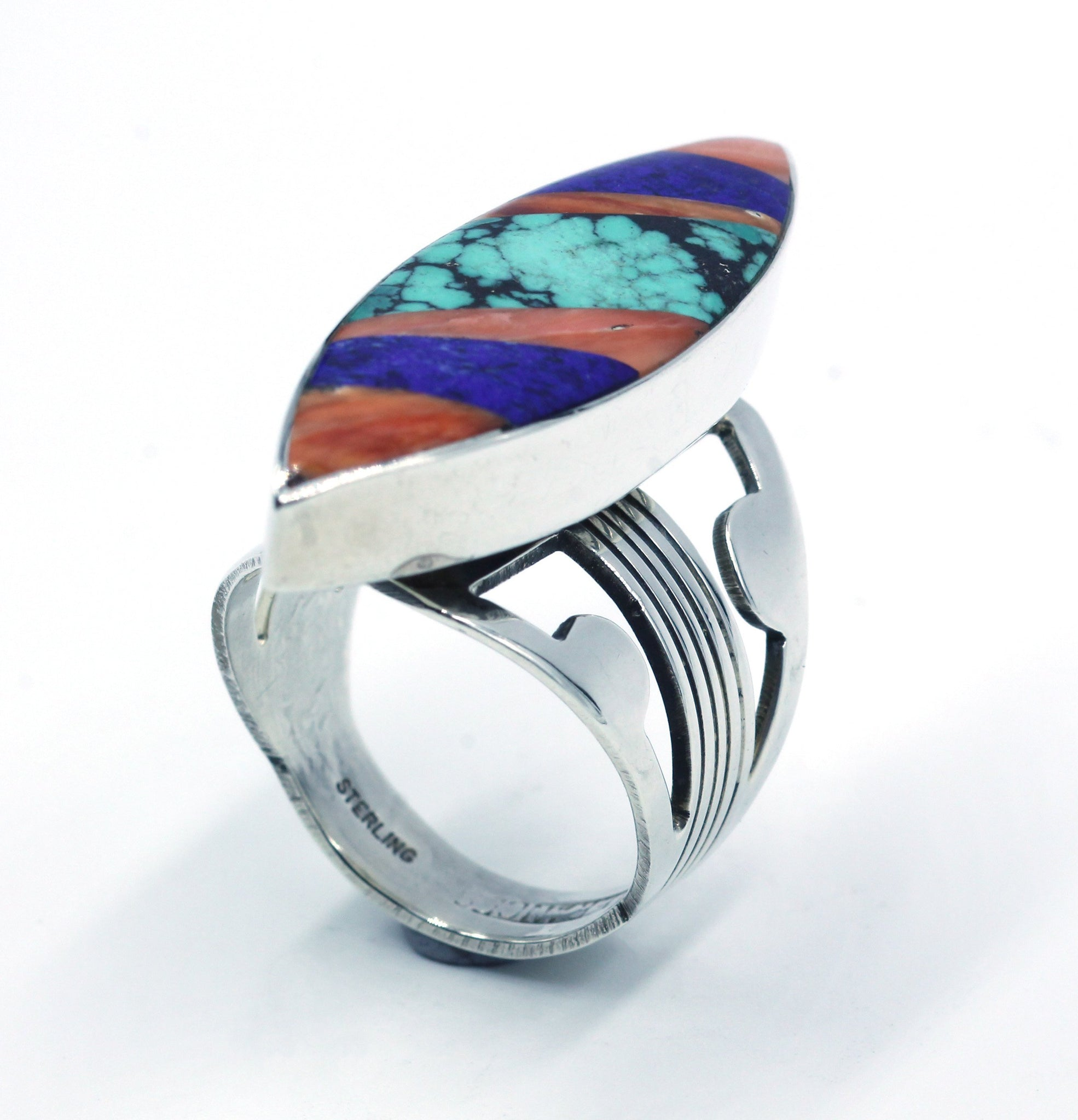 Vintage Native American Zuni Sterling Silver Inlaid Ring, SOLD