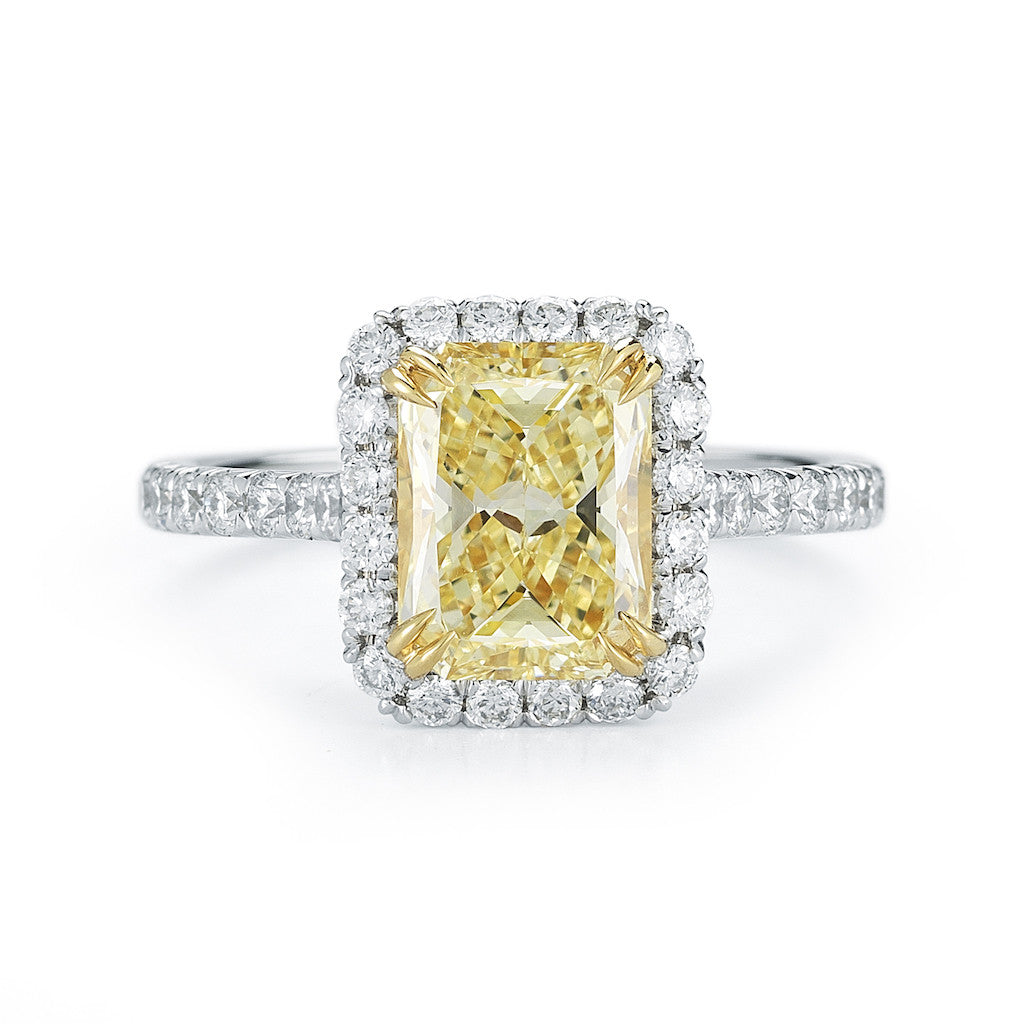 Halo Radiant Cut Yellow Diamond Ring, SOLD