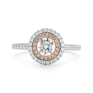 Diamond Halo Ring in White and Rose Gold