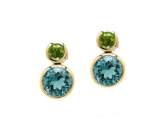 Goshwara Blue Topaz and Peridot Earrings