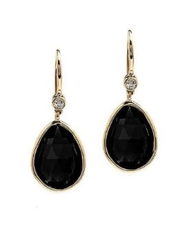 Faceted Black Onyx and Diamond Earrings