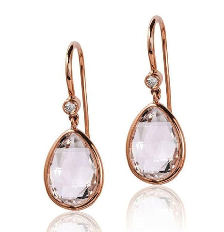 Pink Rock Crystal and Diamond Earrings
