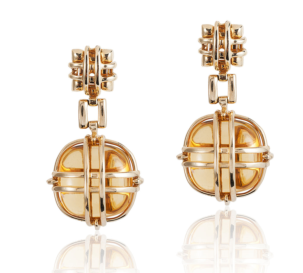 Caged Citrine Earrings
