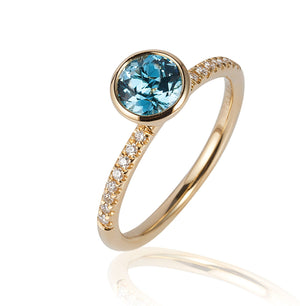 Blue Topaz and Diamond Ring, SALE, SOLD