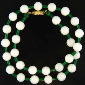 Natural White and Green Jade Beads