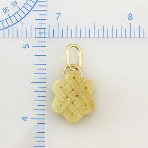 Natural Yellow Jade Endless Knot Pendant, SOLD