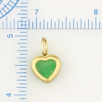 Natural Green Jade Heart Pendant, SOLD