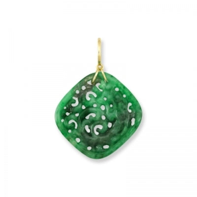 Natural Green Jade Carved Dragon Pendant