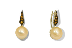 Jennifer Rabe-Morin Pearl and Spessarite Earrings