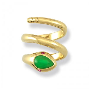 Natural Green Jade Snake Ring