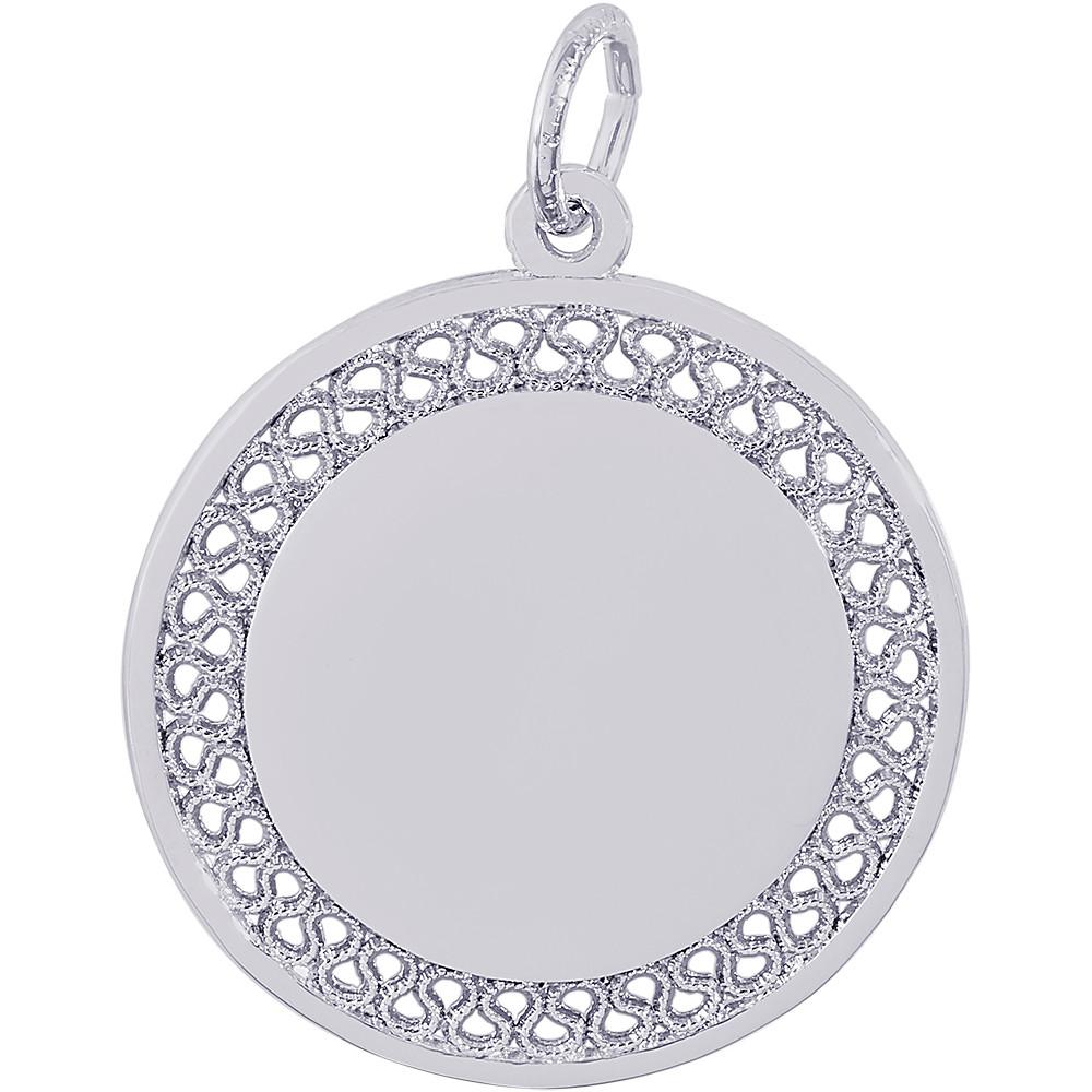 14K Yellow or White Gold Disc Charm