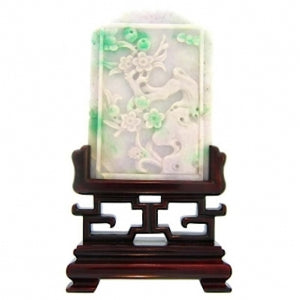 Four Piece Set of Natural Jade Four Seasons Carvings with Wo
