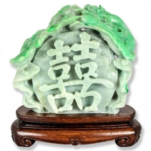 Natural Green Jade Double Happiness Statuary