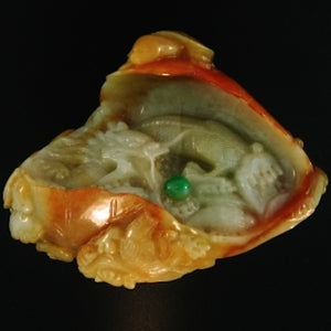 Natural Red/Yellow Jade Carved Statuary