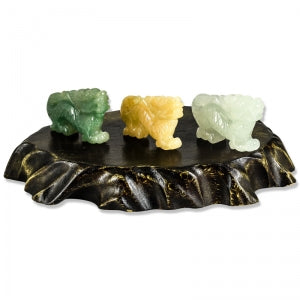 Natural Jade Dragon Carvings on Wooden Stand, SOLD