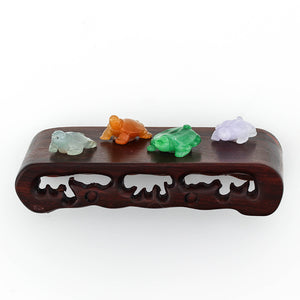 Natural Jade Carved Turtles on Wooden Stand