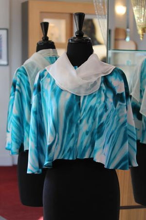 Janet Deleuse Silk Mini Cape with Attached Chiffon Scarf, SOLD