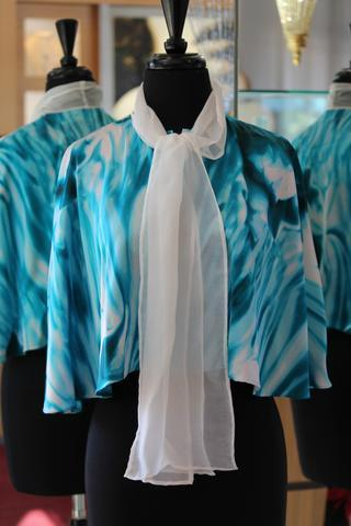 Silk Mini Cape with Attached Chiffon Scarf, SOLD