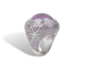 Jennifer Rabe-Morin Diamond and Rose Quartz Ring