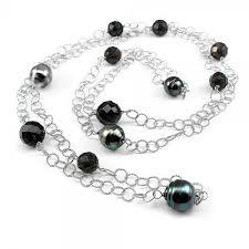 Sterling Silver Necklace with Tahitian Pearls and  Smoky Quartz