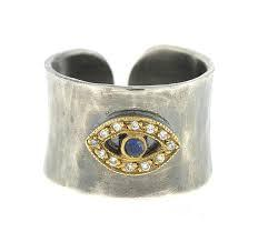 Sterling Silver and 14k Gold Eye Ring, SOLD