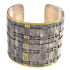 Sterling and 24k Gold Diamond Cuff Bracelet, SOLD