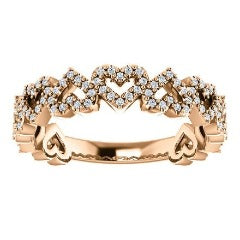 Rose Gold Diamond Heart Stackable Band