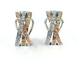 Tri-Color Gold Diamond Earrings, SOLD