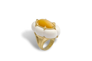 Jennifer Rabe-Morin Opal and White Agate Ring