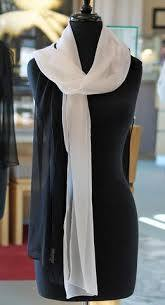 White & Black Sheer Silk Chiffon Scarves, Janet Deleuse Label, SOLD