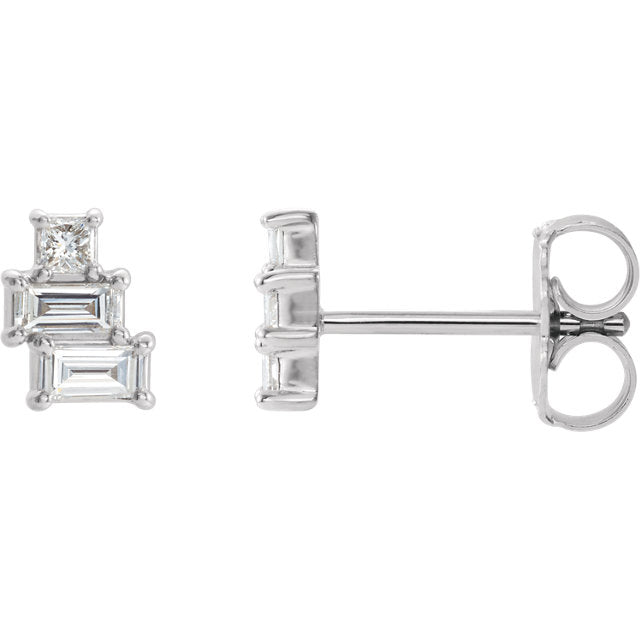 White Gold Geometric Diamond Earrings