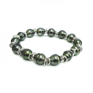Black Tahitian Pearl Bracelet with Silver, SOLD