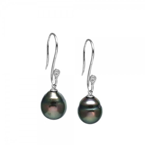 Tahitian Pearl and White Topaz Earring