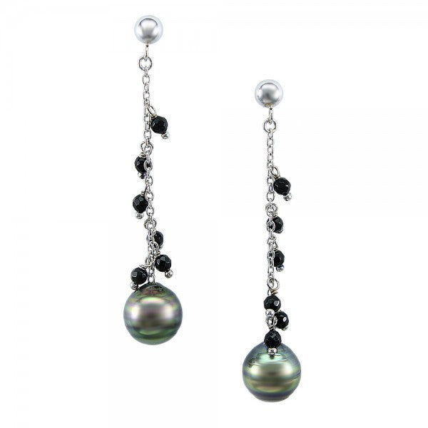 Black Tahitian Pearls and Onyx Sterling Silver Earrings, SOLD