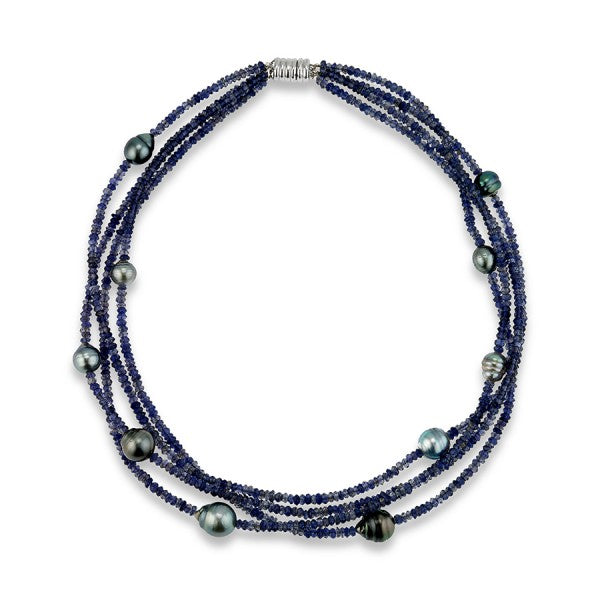 Blue Iolite Beads and Tahitian Pearl Necklace, SOLD