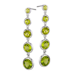14K White Gold Peridot Drop Earrings