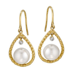 Cultured Pearl and Diamond Earrings, SOLD