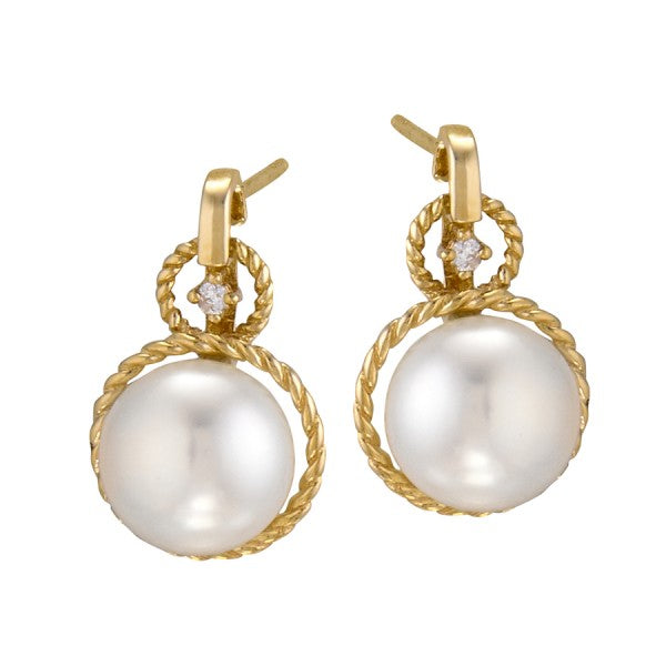 Cultured Freshwater Pearl  and Diamond Earring