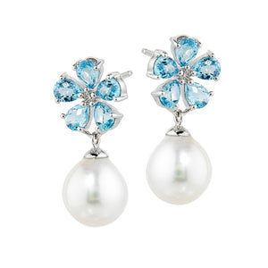 Cultured Pearl Earrings with Blue Topaz and Diamond Flowers