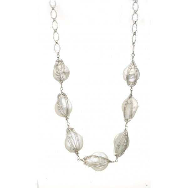 Freshwater Pearls in Sterling Silver Necklace
