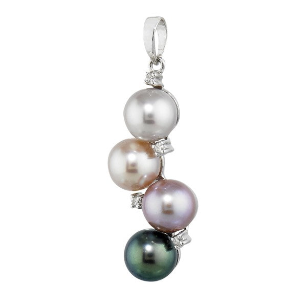 Cultured Pearl Pendant with Diamonds