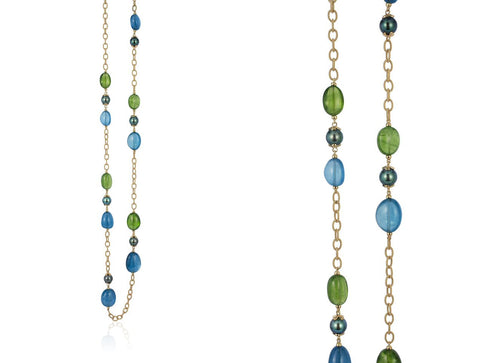 Janet Deleuse Designer Gem Necklace and Earrings