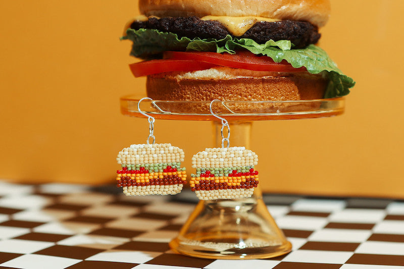 Fat Shack burger with Moody and Co. jewelry