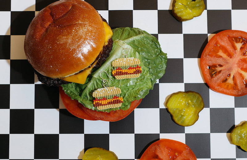 Fat Shack burger with Moody and Co. handmade jewelry