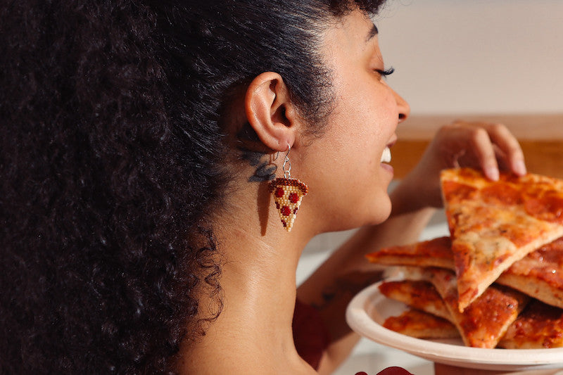 Moody and Co on Atara Young wearing pizza earrings