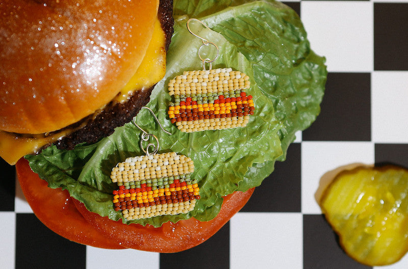 Fat Shack burger with Moody and Co. beaded earrings