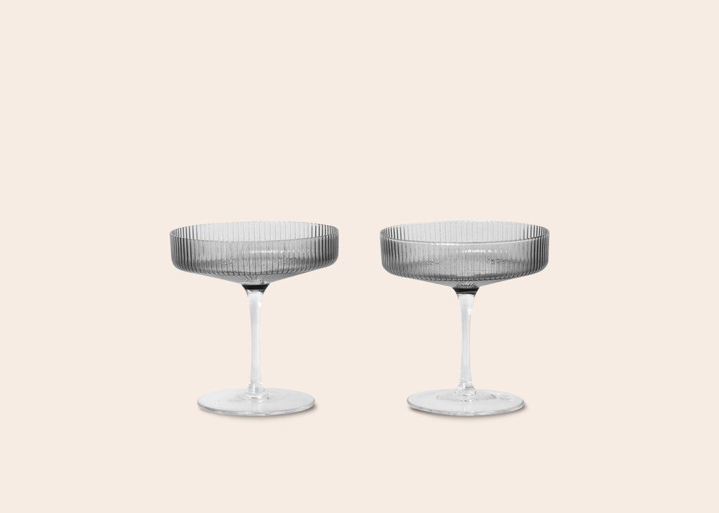 Ripple Champagne Saucers • Smoked Grey