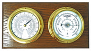 Handmade Solid Brass Thermometer and Barometer Mounted on a Double English Oak Wall Mount