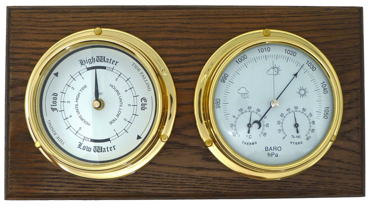 Handmade Solid Brass Tide Clock and Barometer with Built in Hygrometer and Thermometer Mounted on a Double English Oak Wall Mount