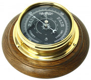 Handmade Prestige Barometer With Jet Black Dial Mounted on an English Dark Oak Wall Mount